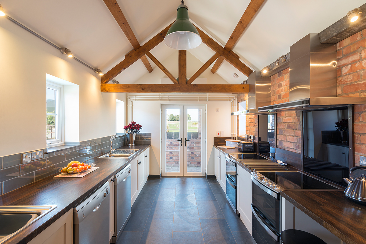 Fully-equipped kitchen at our wedding venue Norton Fields | Upper Rectory Farm Cottages